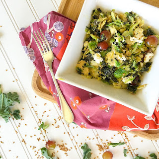 Warm Superfood Salad with Brussels Spouts, Kale, Goat Cheese