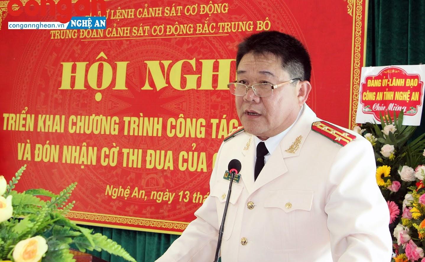 Đại tá Lê Anh Tuấn – Trung đoàn trưởng, Trung đoàn CSCĐ Bắc Trung Bộ khai mạc hội nghị