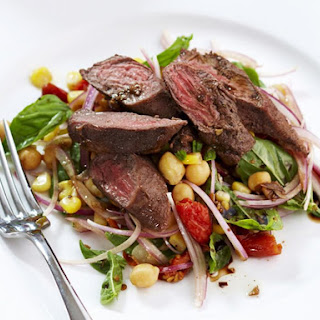 Spiced Lamb with Corn and Chickpea Salad