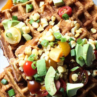 SAVORY CORN and CHEDDAR WAFFLES with AVOCADO Recipe