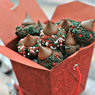 Chocolate Kiss Sprinkle Cookies.