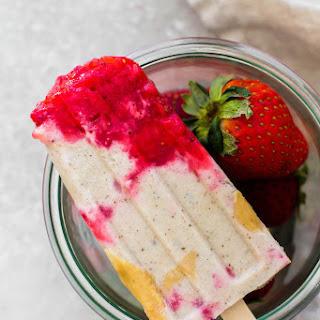 Strawberry Tahini Ice Cream Pops.