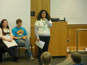 Photo: German Program director Dr. Natasa Masanovic addresses the visiting high school German students