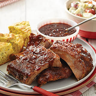 Slow-Cooked Baby Back Ribs with root beer-chipotle barbecue sauce.