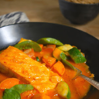 Red Thai Curry with Salmon and Vegetables.