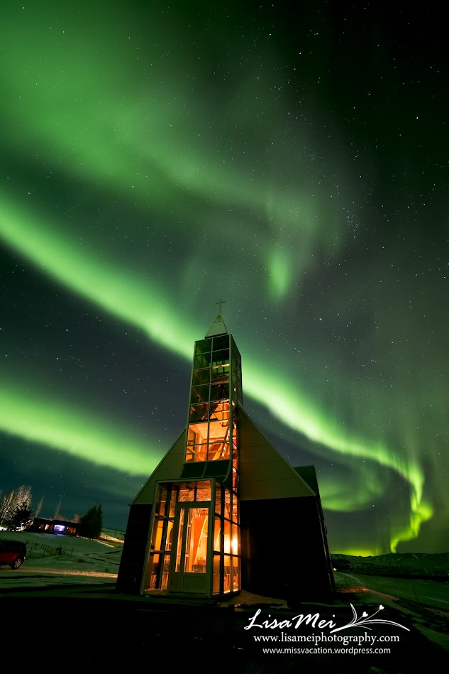 We drove down to this church in the middle of nowhere and the Northern Lights went crazy dancing for us!