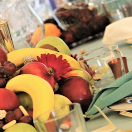 Centerpiece by Leah Zisserson - Food & Drink Fruits & Vegetables ( fruit, thanksgiving, bananas, dinner, centerpiece, table, grapes )