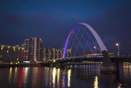 The Clyde Arc connects Govan road to the city center of Glasgow, Scotland.