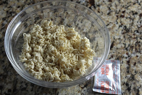 Ramen Noodles:  Break up the noodles and save the seasoning packet.  Set...