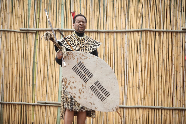 Zulu king Goodwill Zwelithini ahead of his Reed Dance address in Nongoma, northern KwaZulu-Natal, on Saturday.