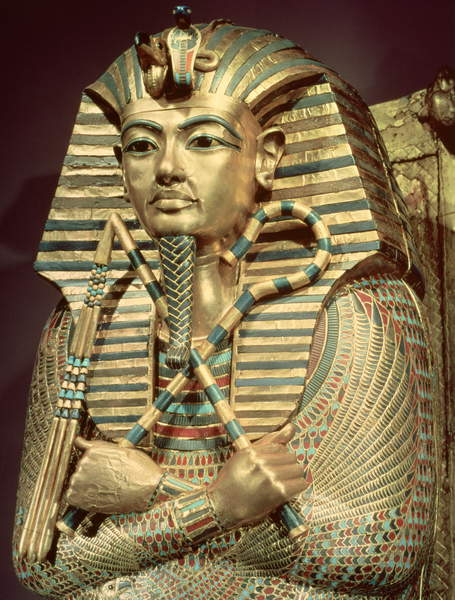 Image of Detail of the second mummiform coffin of Tutankhamun (c.1370-52 BC) New Kingdom (wood with sheet gold inlaid with semi-precious stones), Egyptian 18th Dynasty (c.1567-1320 BC) / Egyptian, Egyptian National Museum, Cairo, Egypt, (C14th BC), 79x69x203 cms, © Bridgeman Images