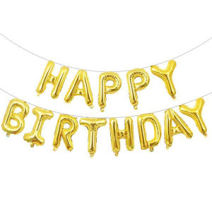 Set baloane Happy Birthday, 13 litere, Auriu