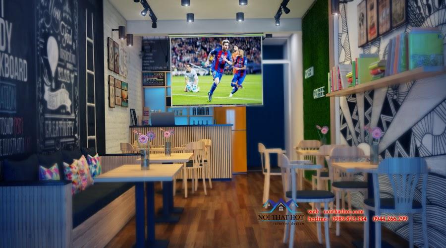 thiết kế cửa hàng cafe trẻ trung