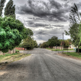 Dark Road by Japie Scholtz - City,  Street & Park  Neighborhoods ( road.street, tree, cloud, tar, pavement )