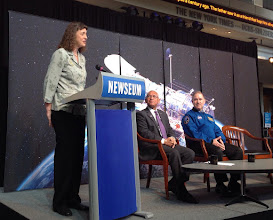 Photo: Jennifer Wiseman, Senior Project Scientist for the Hubble Space Telescope, addresses attendees of the NASA televised press conference.
