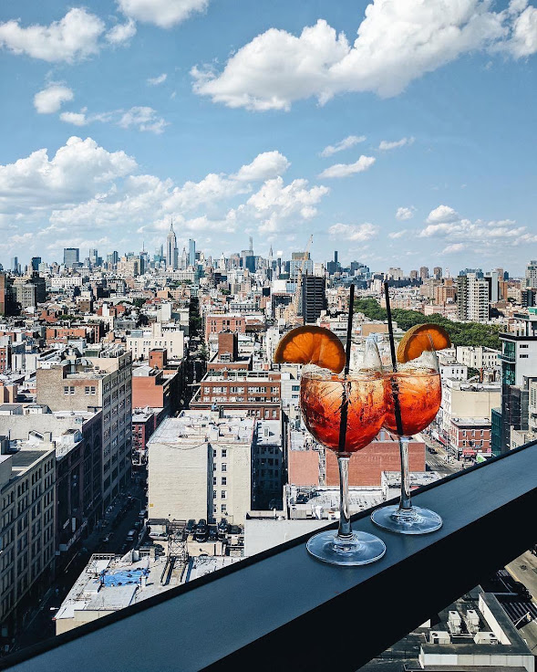 The view from The Crown rooftop bar above Hotel 50 Bowery. Photo: Hotel 50 Bowery.