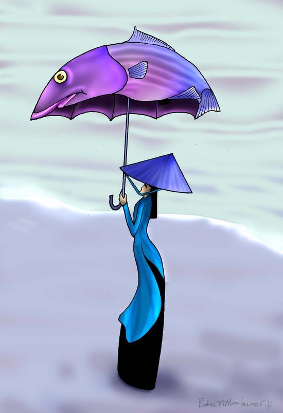 Thiếu nữ cầm dù ở Vũng Áng