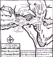 """Photo: 1733 Moseley Map noted """"Carrot I,"""" most likely named due to its shape. See: Dredge-spoil Islands - Town Marsh and Carrot Island: http://beaufortartist.blogspot.com/2010/08/dredging-created-islands.html"""
