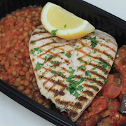 Grilled Chicken with Sauteed Aubergine & Spicy Lentils