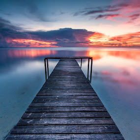 my way by Christianto Mogolid - Landscapes Waterscapes ( reflection, sunset, cloud, jetty,  )
