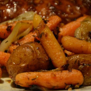 Oven Roasted Carrots and Potatoes.