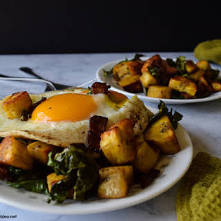 Plantain, Bacon, and Kale Hash.