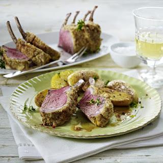 Pink Peppercorn Crusted-Rack of Lamb.