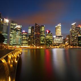 Urban Twilight by Richard Amar - City,  Street & Park  Skylines ( cityscapes, colors, canon eos 7d, canon efs10-22mm f/3.5-4.5 usm, reflections, long exposure, singapore, marina bay )