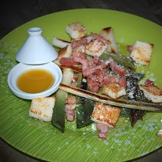 Fried Leeks with Bacon and Parmesan and Onion Confit Vinaigrette Recipe