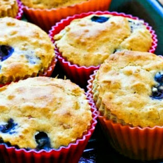 Low Sugar Whole Wheat and Oatmeal Blueberry Muffins with Lemon.