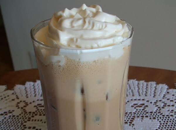 Iced Coffee Topped With Reddi Wip Whipped Topping.