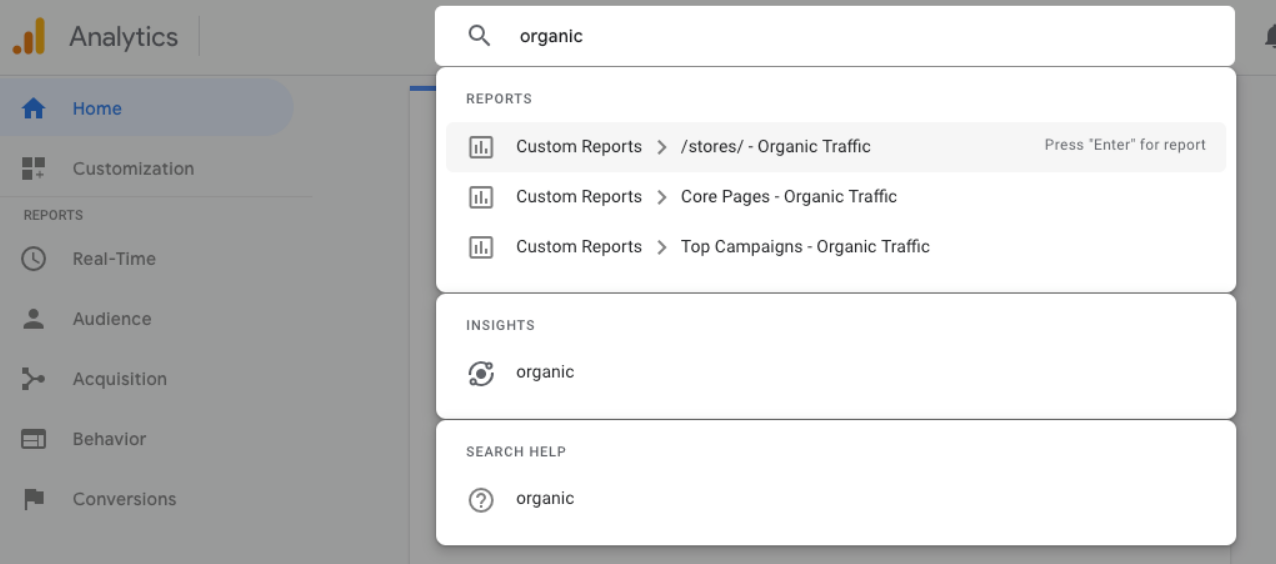 accessing custom reports via google analytics intelligence.