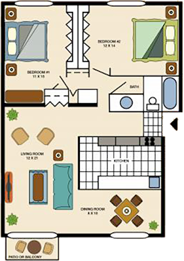 Two Bedroom Garden Apartment (2 Bed, 1 Bath) | Cypress Village