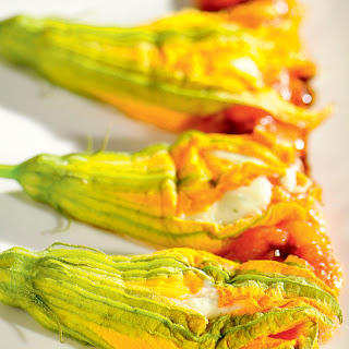 Zucchini Flowers with Ricotta Filling and Balsamic Vinegar