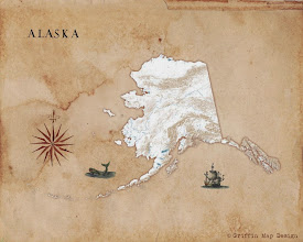 Photo: Antique map concept of Alaska, using elements from old maps with new map data.