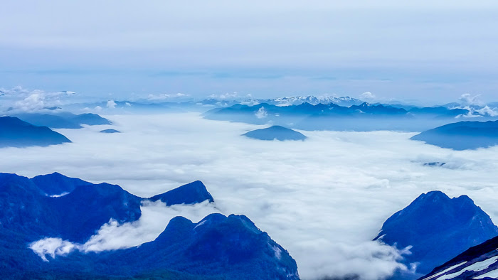Views from the summit of the villarrica volcan in pucon chile
