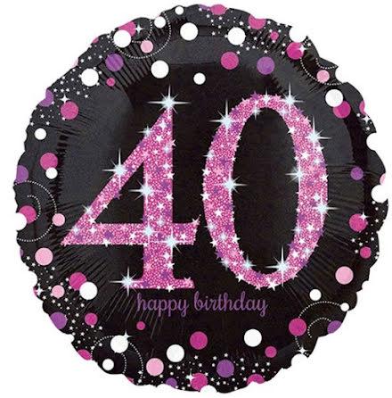 Folieballong Sparkling birthday 40 rosa