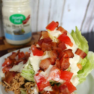 Buffalo Chicken and Bacon Wedge Salad with Naturally Fresh Bleu Cheese Dressing.