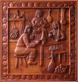 Campesinos era arcaica. Talla en madera
