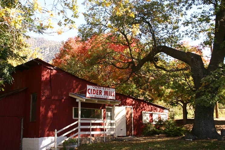 Photo of fall-colored trees hanging over the red building of Snow-Line Cider Mill.