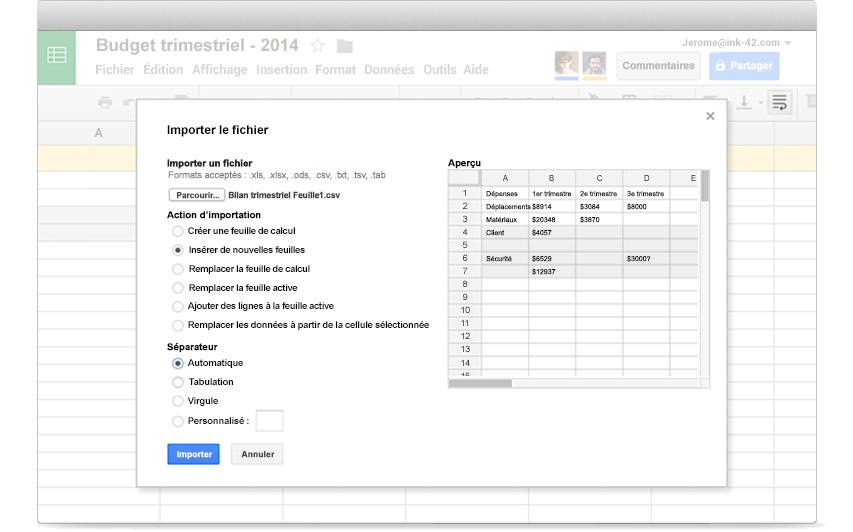 google sheets feuilles de calcul et analyse de donn es pour entreprises. Black Bedroom Furniture Sets. Home Design Ideas