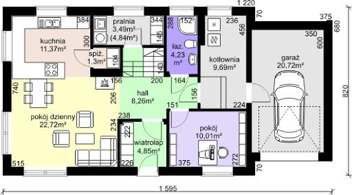 Dom przy Alabastrowej 8 - Rzut parteru