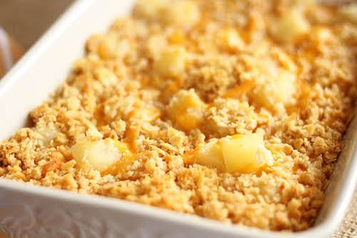 """Pineapple Cheese Casserole """"If you ask my wife, no family gathering is..."""