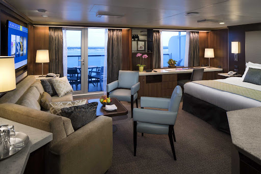 eurodam-Neptune-Suite.jpg - The Neptune Suite on Holland America's Eurodam features a king-size bed (or two doubles), large sitting area, dressing room, private veranda and floor-to-ceiling windows.