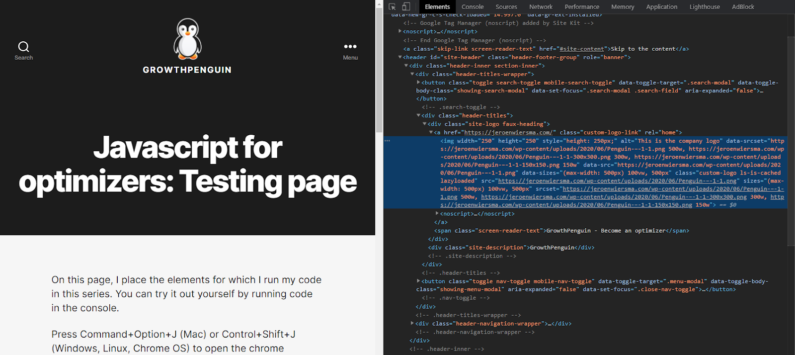 Looking at the testing page with the inspect tool.