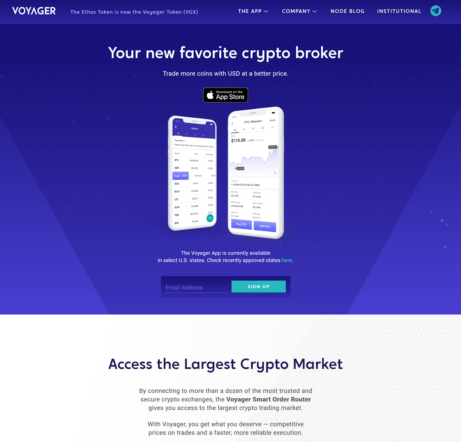 Voyager's Mobile App page from Voyager