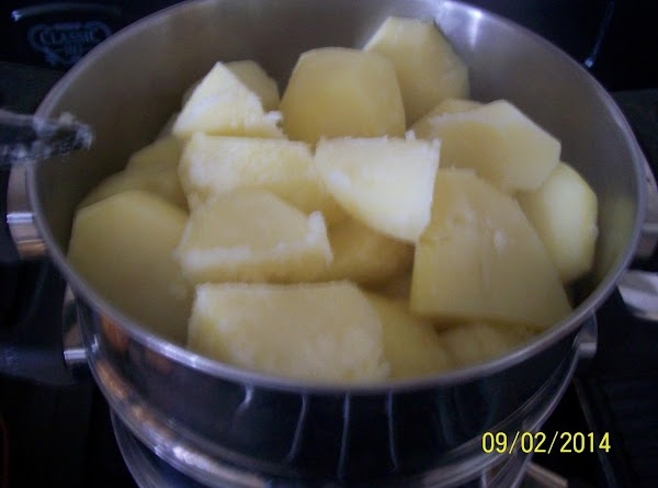 cook the potatoes until their nice and soft , they should appear nice and...