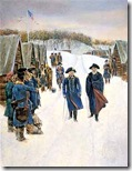 Baron von Steuben (left) walks with Gen. George Washington through the Continental Army camp at Valley Forge in 1778, shown in an engraving after Howard Pyle.