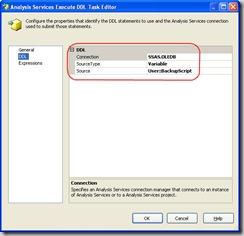 DDL Settings for AS Execute DDL Task