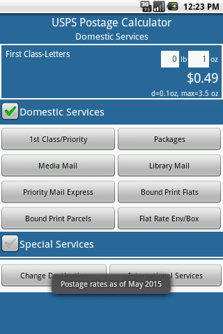 Postage Calculator USPS - screenshot